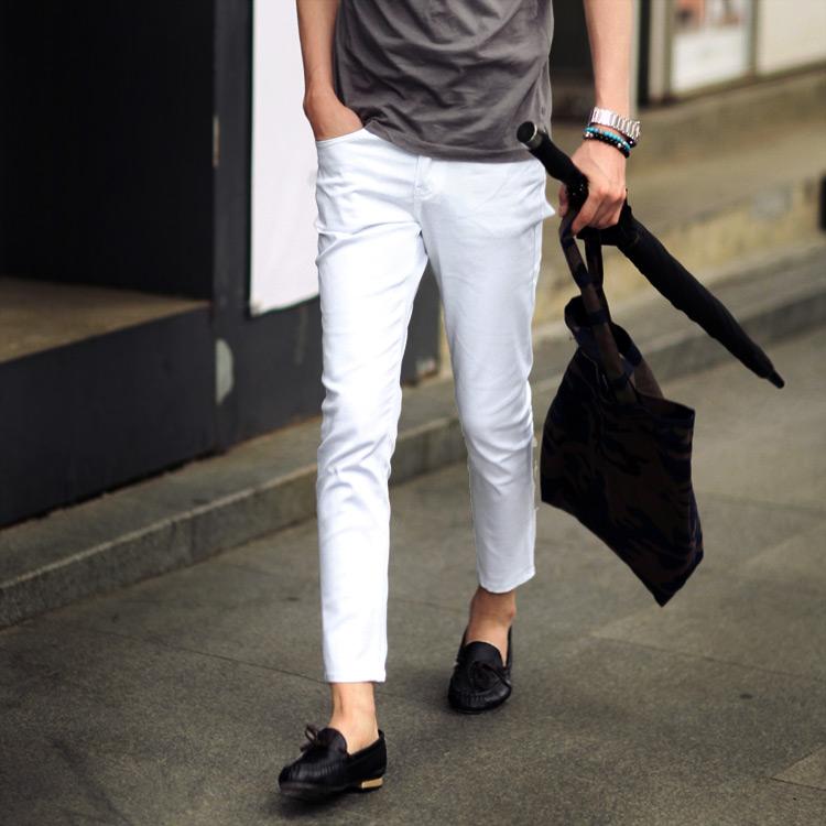 綿混紡素材シンプル9分丈パンツ・全4色