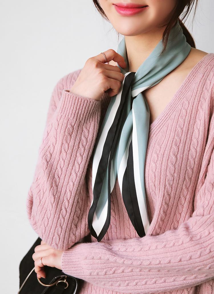 カラーブロックシルキースカーフ・全3色