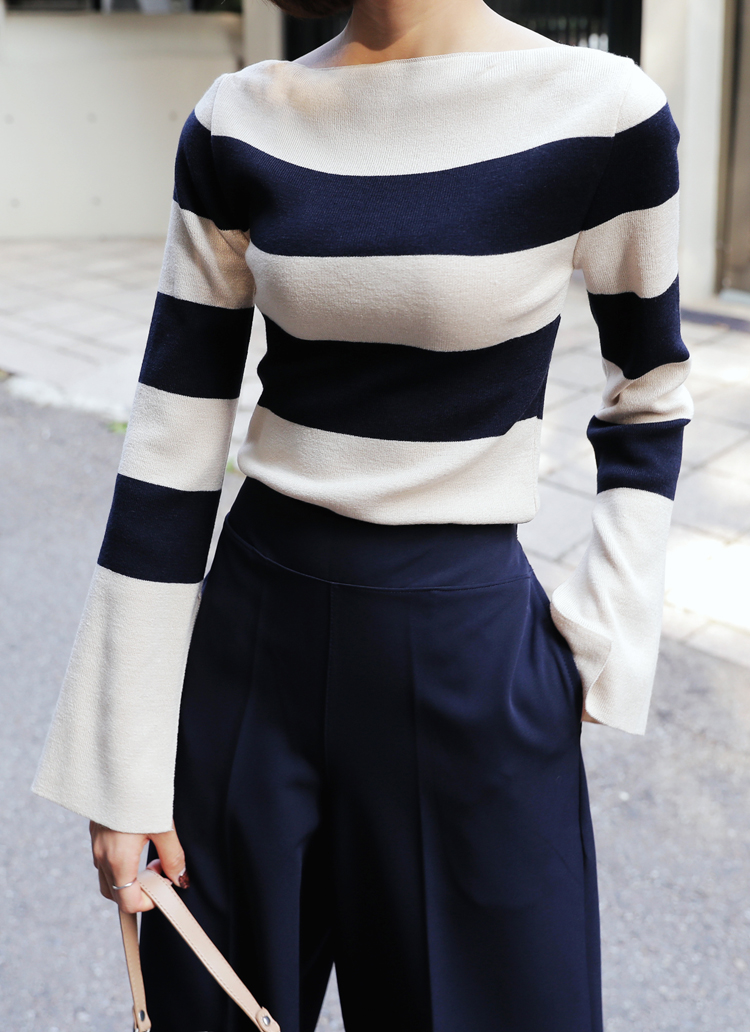 2TYPEボートネックニットTシャツ・全4色
