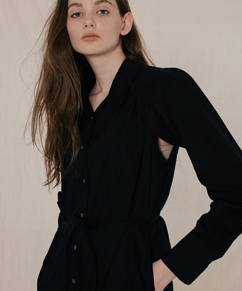*DIAGONAL*ショルダーパッドシャツスタイルドレス