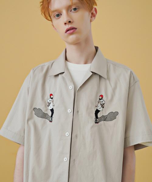 *F.ILLUMINATE*ユニセックススケーターオープンカラーシャツ-アイボリー