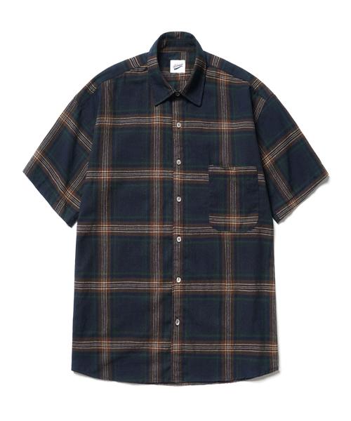 *PARTIMENTO*プレイドチェック1/2シャツ(ネイビー)