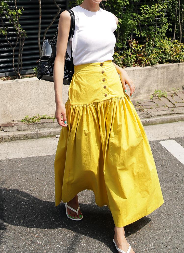 ボタンフライギャザースカート・全3色