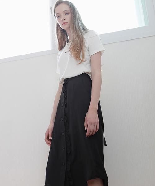 *bibyseob*フリルシャツスカートブラック