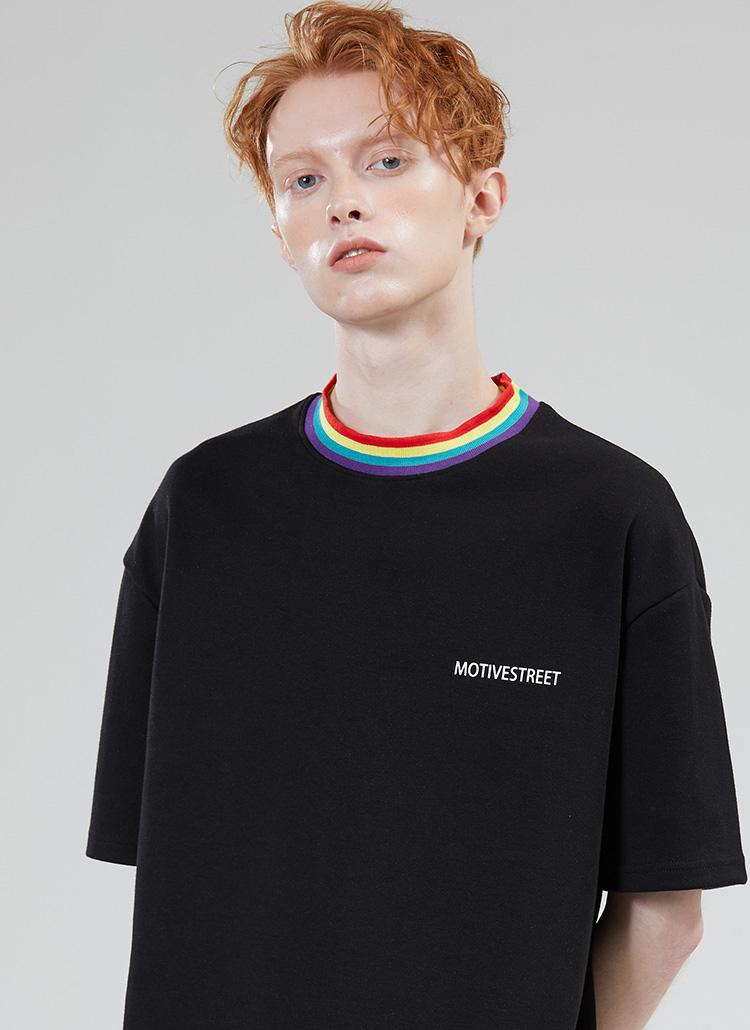 *MOTIVESTREET*レインボーネックポイントTシャツブラック