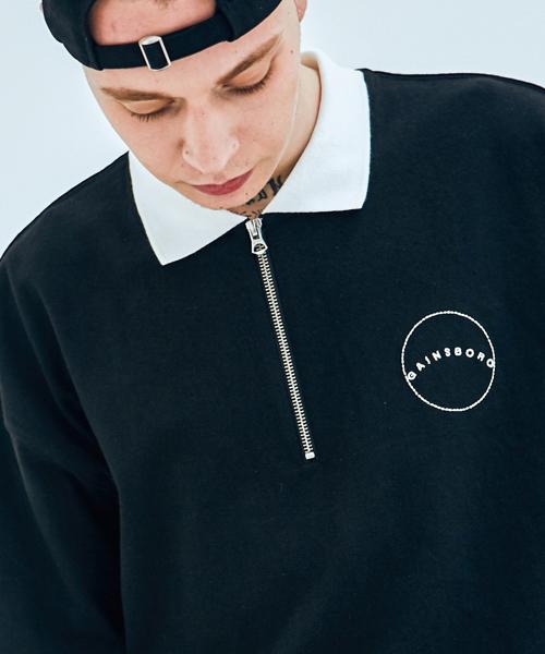 *GAINSBORO*アスレチックハーフジップアップTシャツ(ブラック)