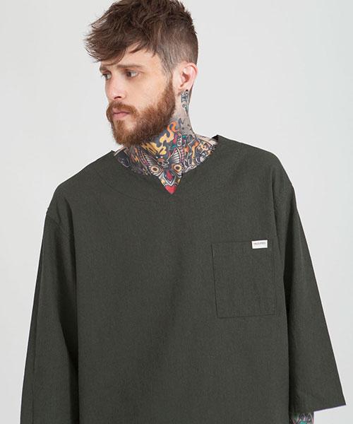 *HALB KREIS*TA-110リネンポケットTシャツ_CH