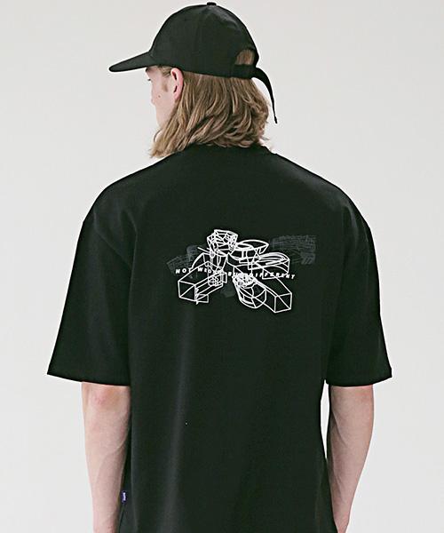 *Massnoun*ストラクチャーオーバーサイズドTシャツMSETS010-BK