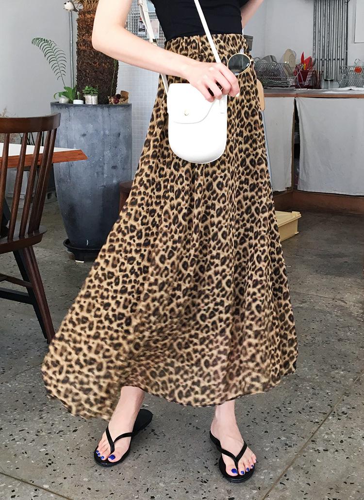 シフォンレオパードロングスカート・全2色