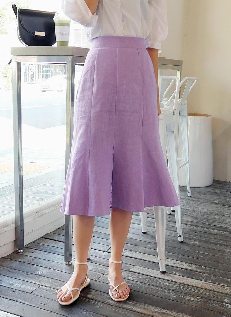 リネンフロントスリットスカート・全4色