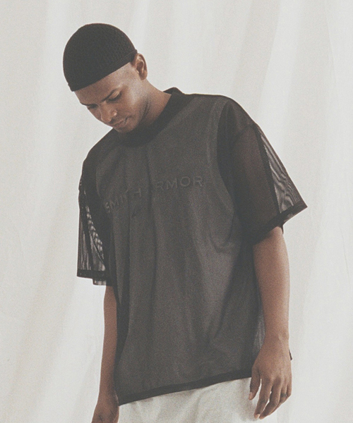 *SMITH ARMOR*ロゴメッシュオーバーフィットTシャツ(ブラック)