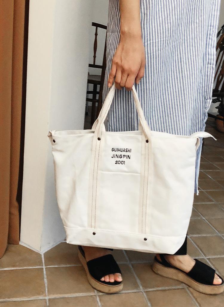 刺繍レタリングキャンバスバッグ・全2色