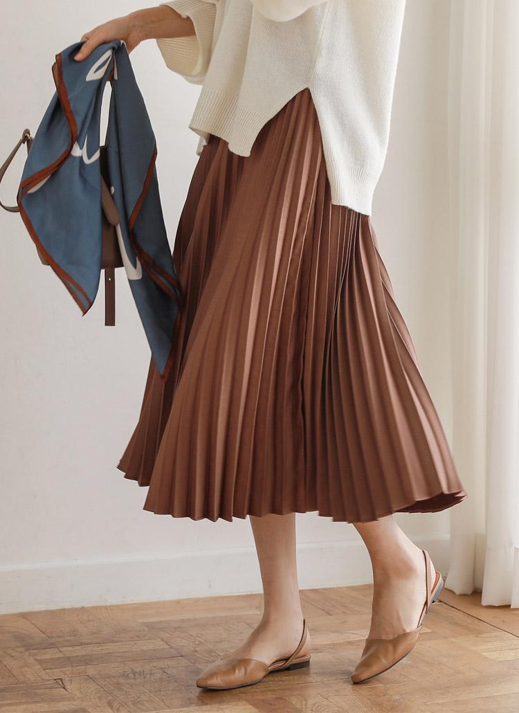 バックゴムロングプリーツスカート