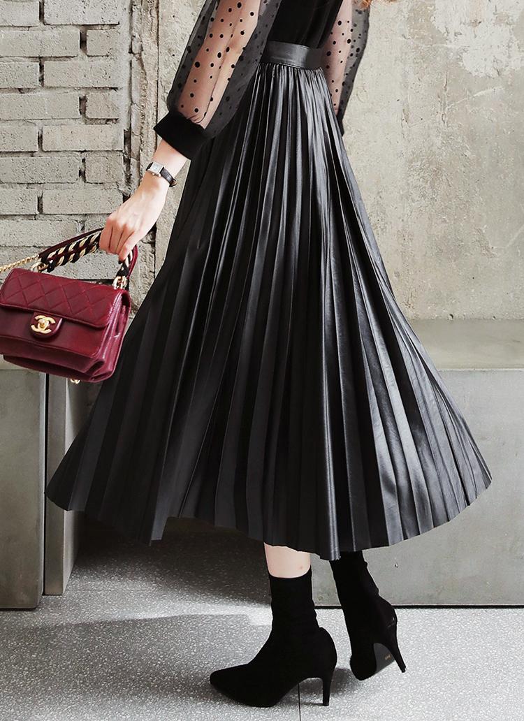 レザー調プリーツロングスカート・全2色