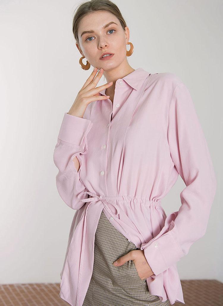 *DIAGONAL*テンセル混ストリングシャツ(ピンク)