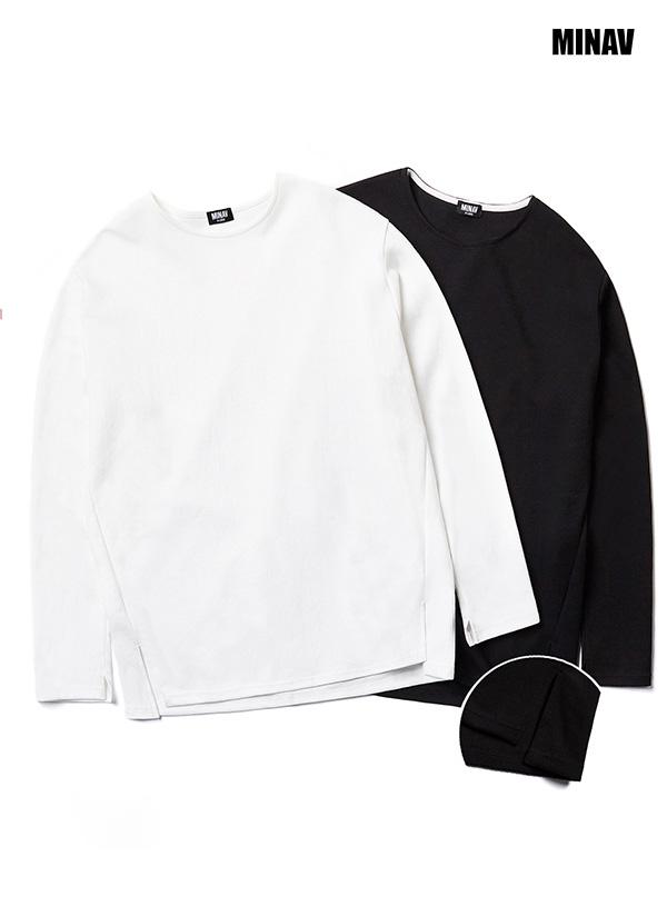 *MINAV*ユニセックスベーシックレイヤードクルーネックTシャツ(ブラック/アイボリー)