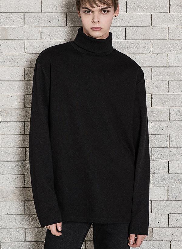 *MINAV*ユニセックスベーシックレイヤードタートルネックTシャツ(ブラック)