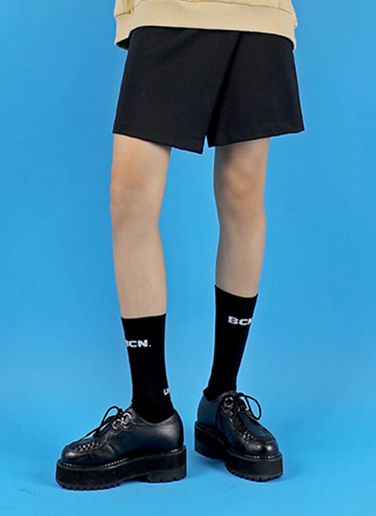 *BASIC COTTON*ベルクロミニスカート(ブラック)