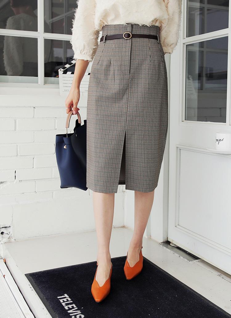 ベルトSETチェックスリットスカート・全1色