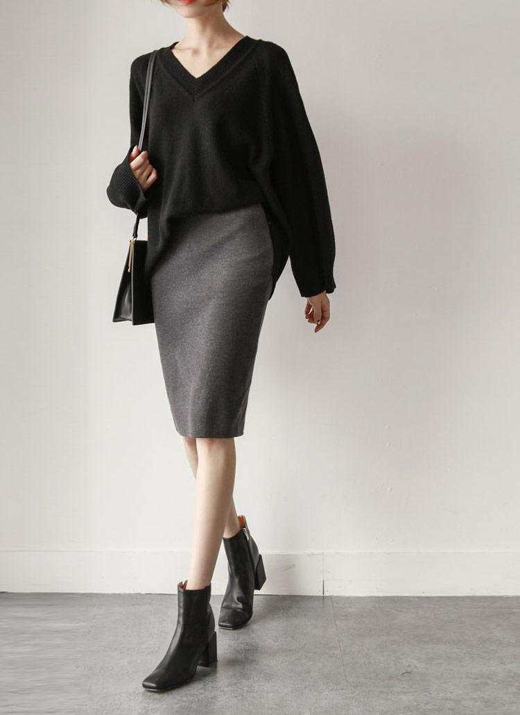 ウエストゴムアクリル混スカート