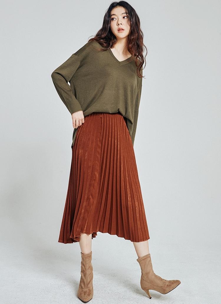 ウエストゴムシャイニングプリーツスカート
