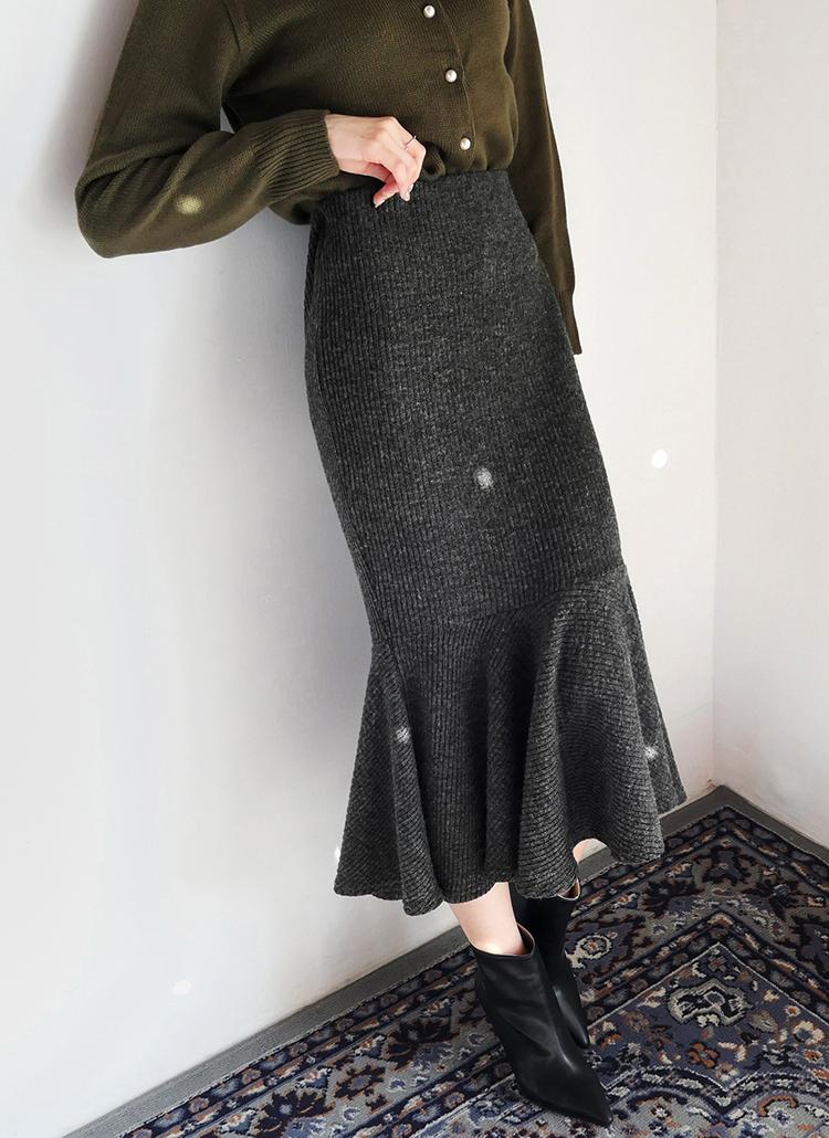 リブマーメイドスカート・全4色