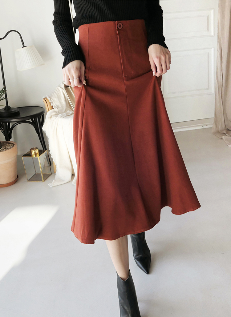 <font color=red><b>★HAPPYPRICE10%★ </b></font>バックゴムフレアロングスカート・全2色