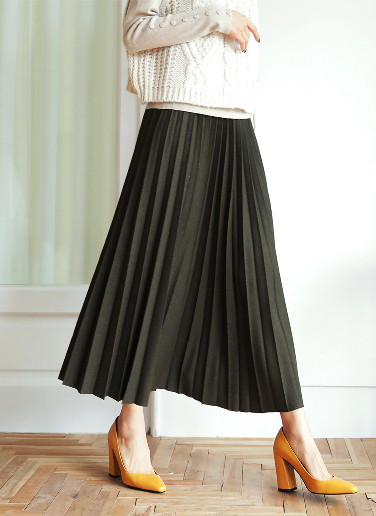 ウール混プリーツスカート・全3色