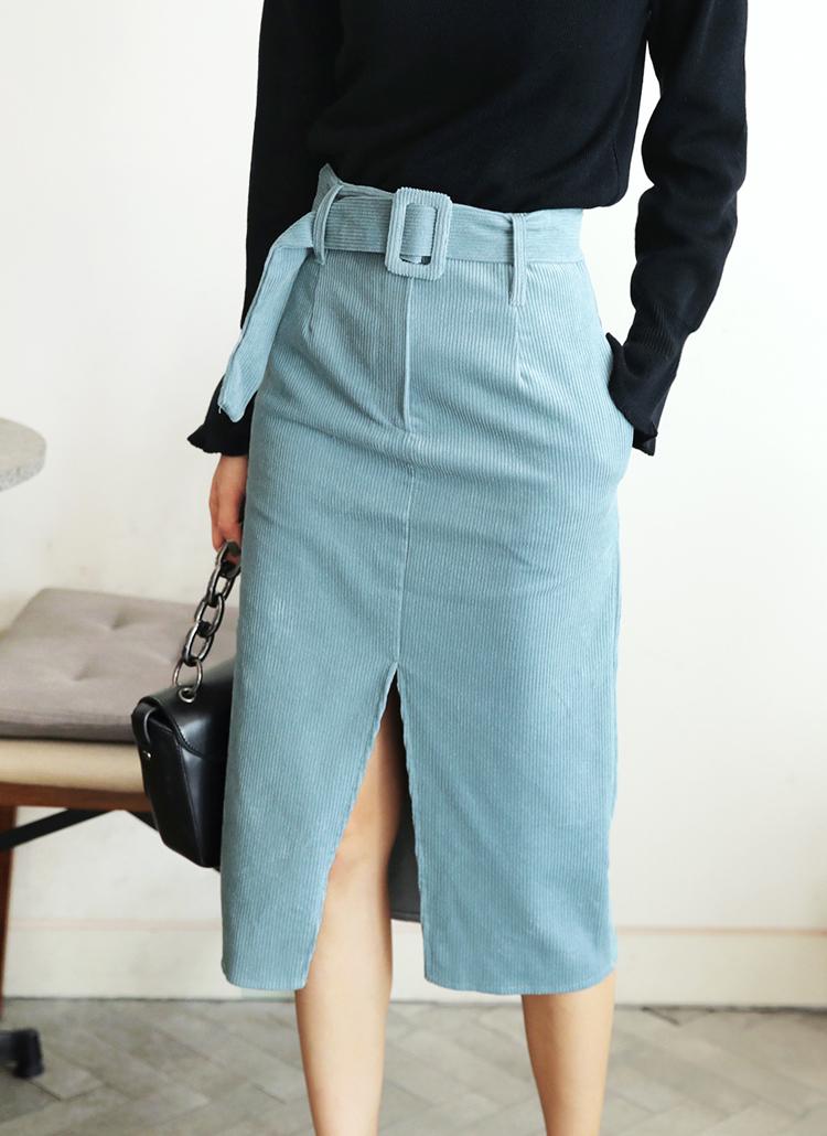 ベルトSETコーデュロイスリットスカート・全3色