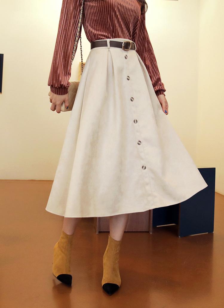 ベルトSETボタンフレアスカート・全4色