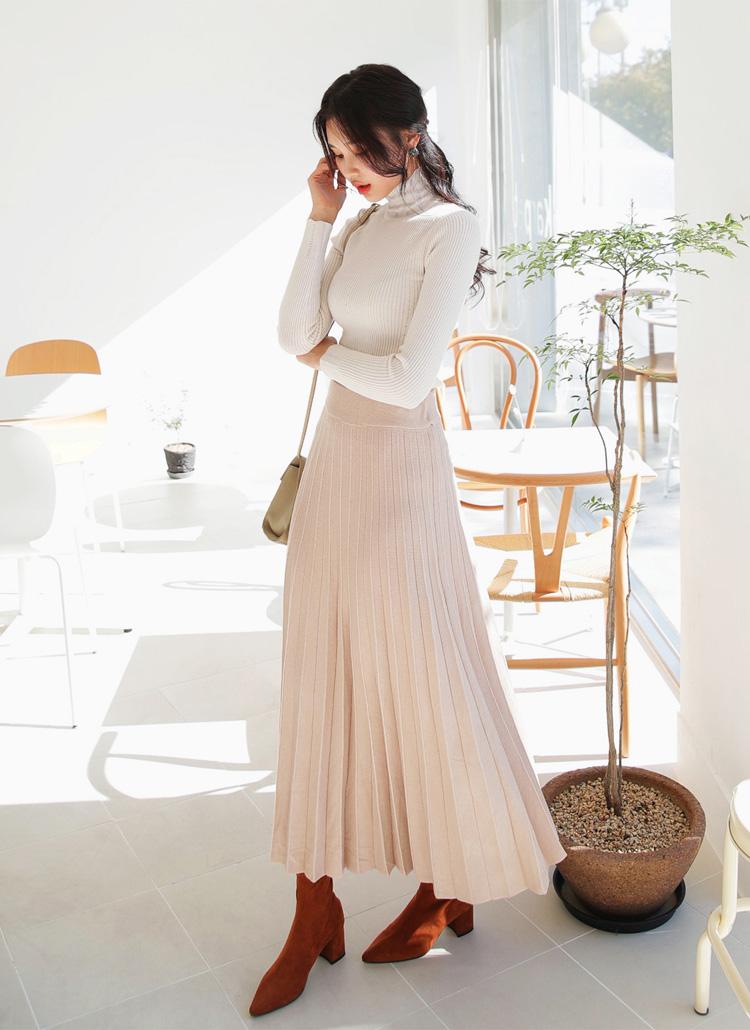 プリーツロングニットスカート・全4色