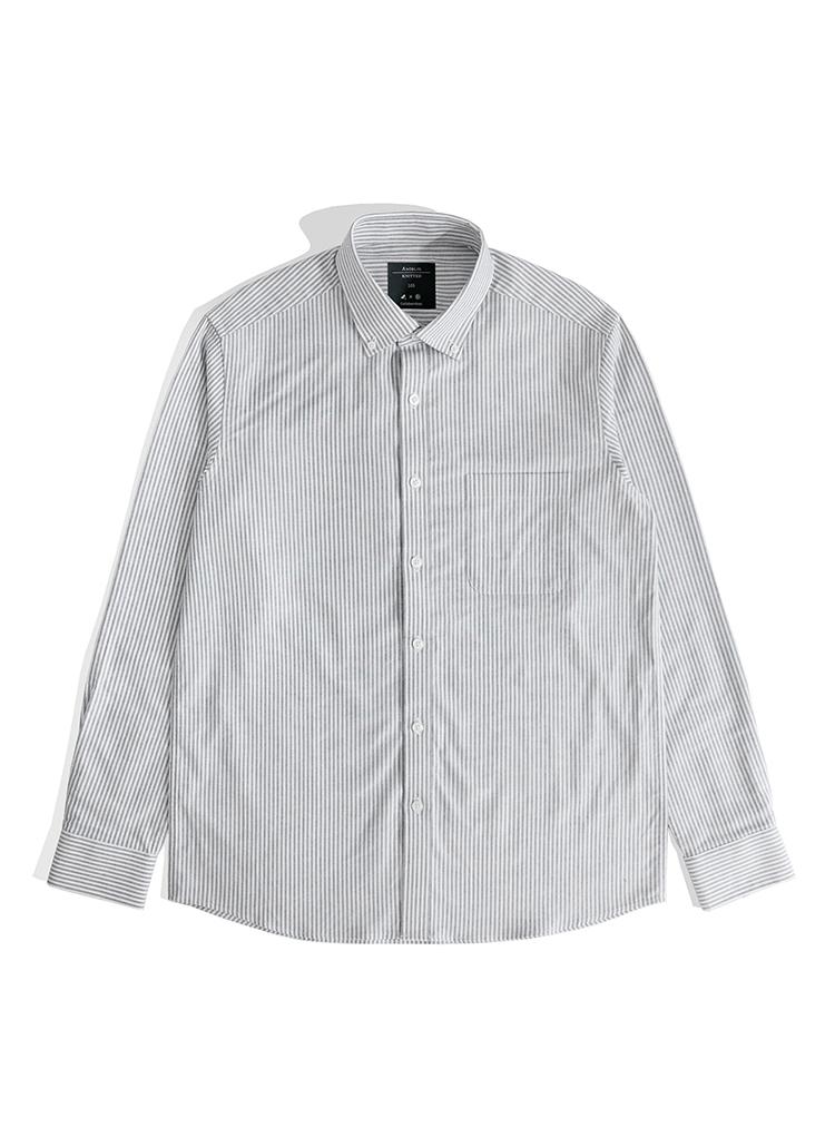 *THEKNITTED*コットンベーシックストライプシャツ(ネイビー)