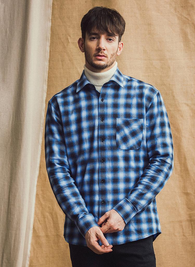 *THEKNITTED*コットンプレイドチェックシャツ(ブルー)
