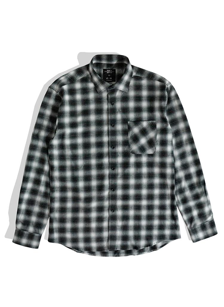 *THEKNITTED*コットンプレイドチェックシャツ(ブラック)