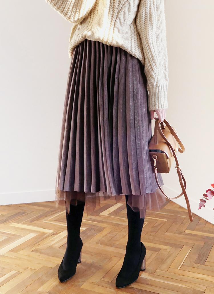 ベロアチュールリバーシブルスカート・全4色