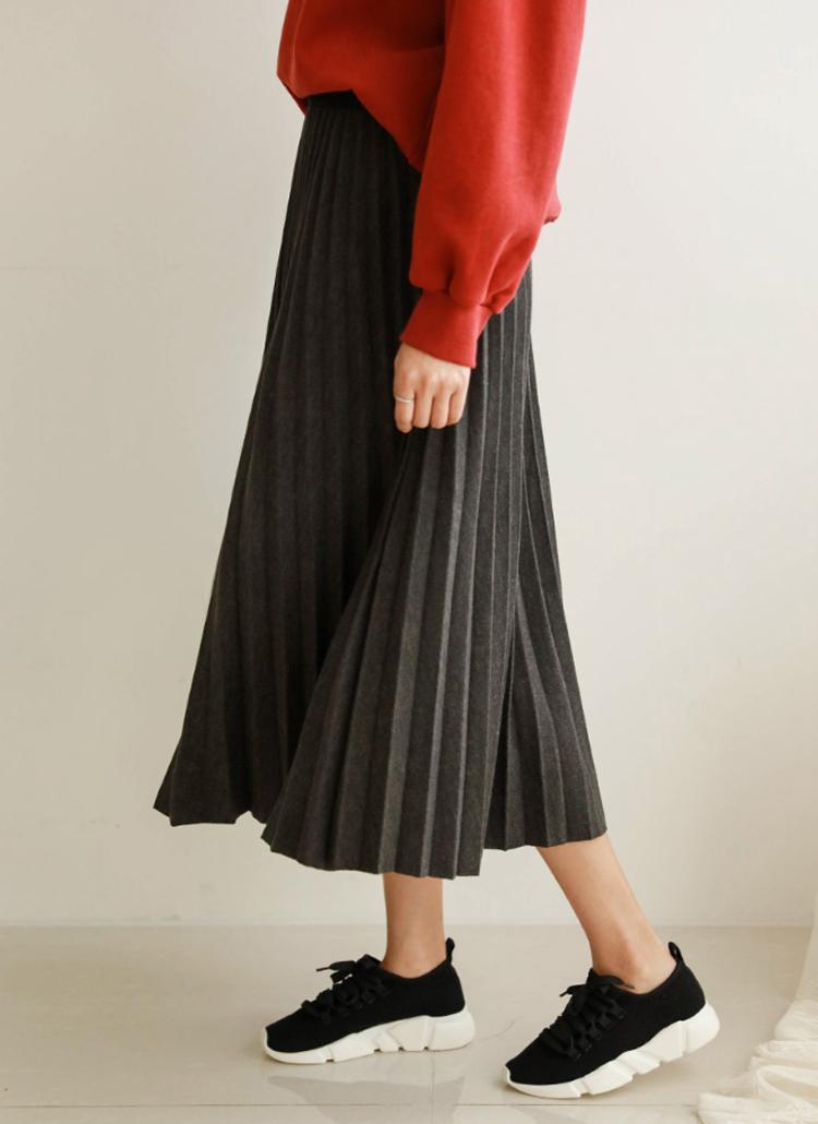 ウールブレンドプリーツスカート