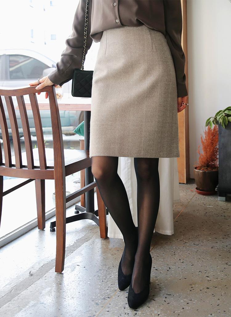 ヘリンボーンHラインスカート・全2色