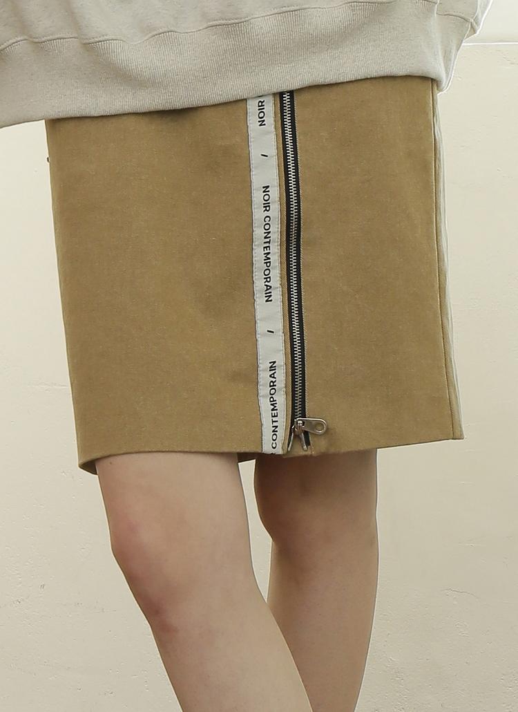 *NOIR*ロゴテープジップラインスカート(ベージュ/ブラック)