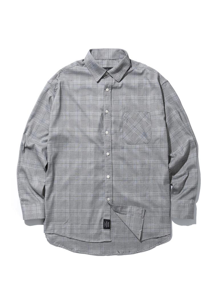 オーバーフィットグレンチェックシャツ(ブラック)
