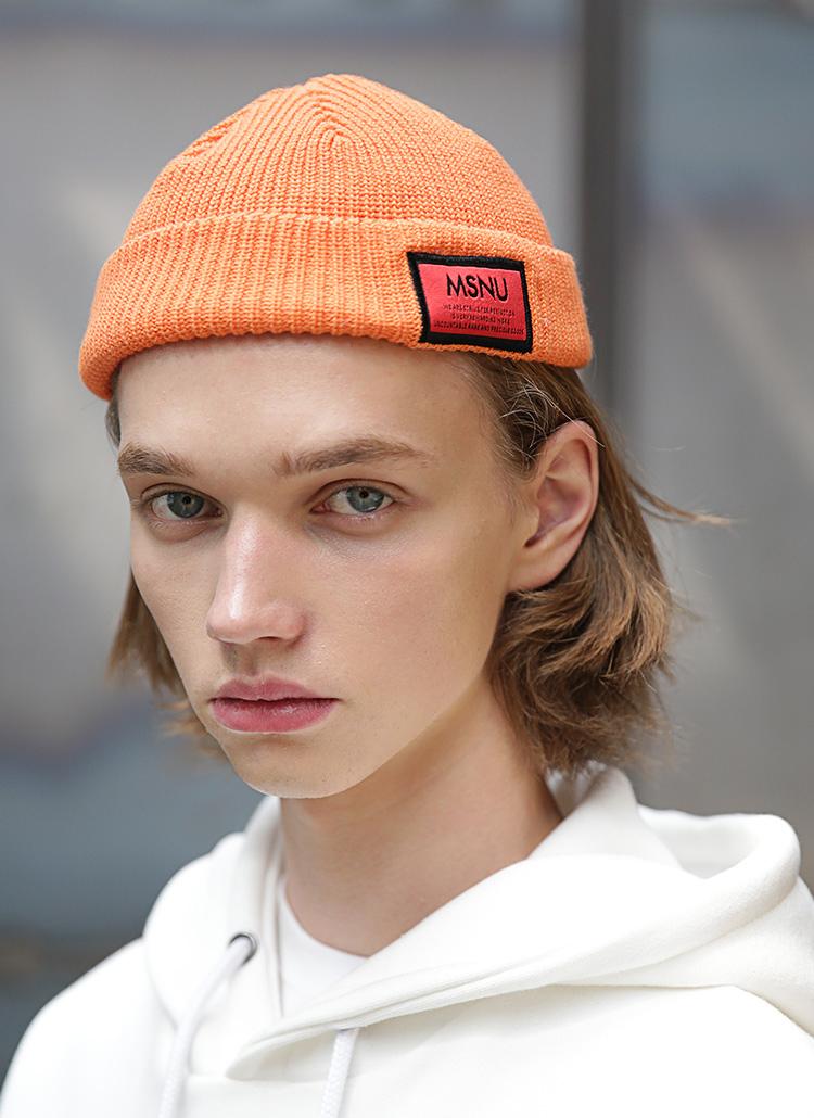 MSNUラベルコットンニット帽(オレンジ)