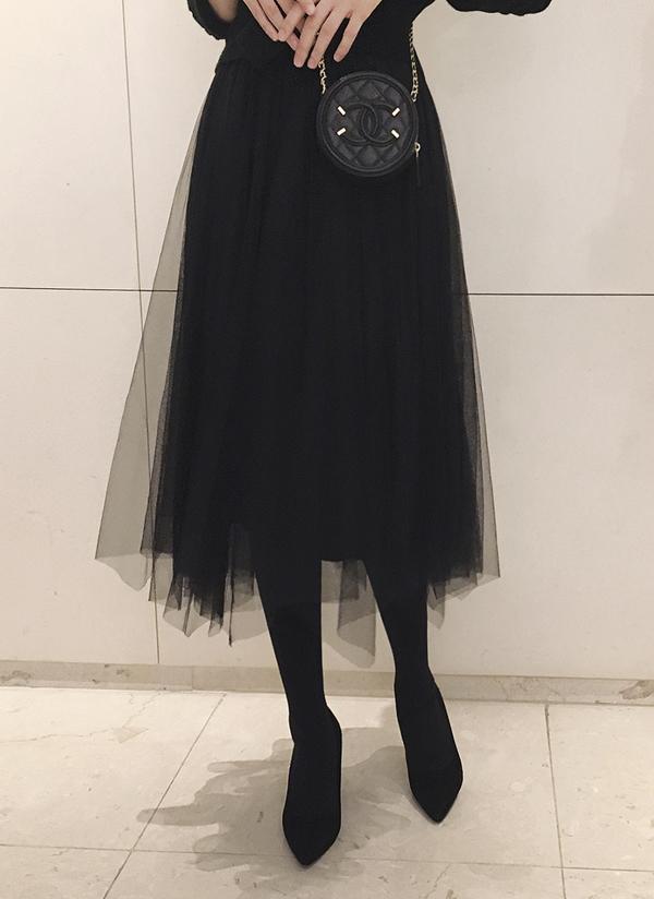 ベロアシフォンプリーツスカート