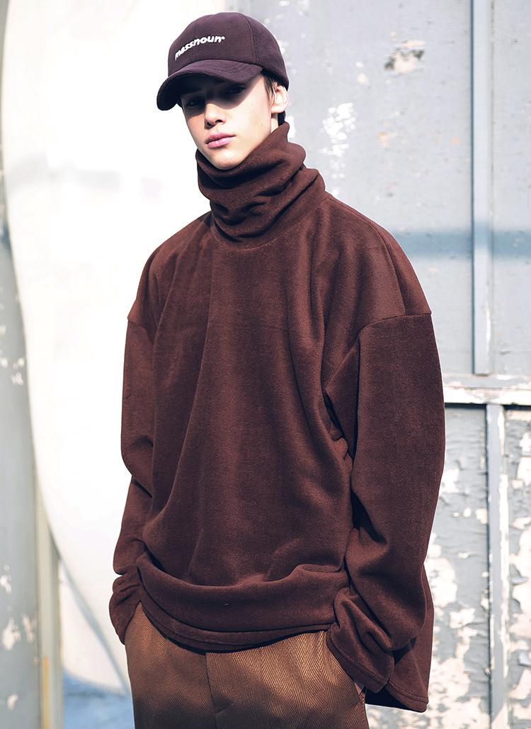 ネックロゴソフトタッチTシャツ(ブラウン)