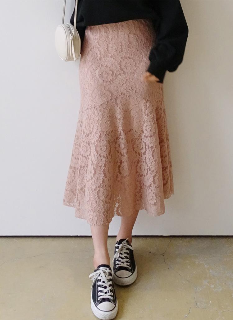 <font color=red><b>○雑誌掲載商品○</b></font>マーメイドレースロングスカート・全3色
