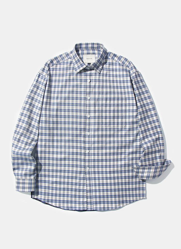 レイラアイスブルーミックスチェックシャツ