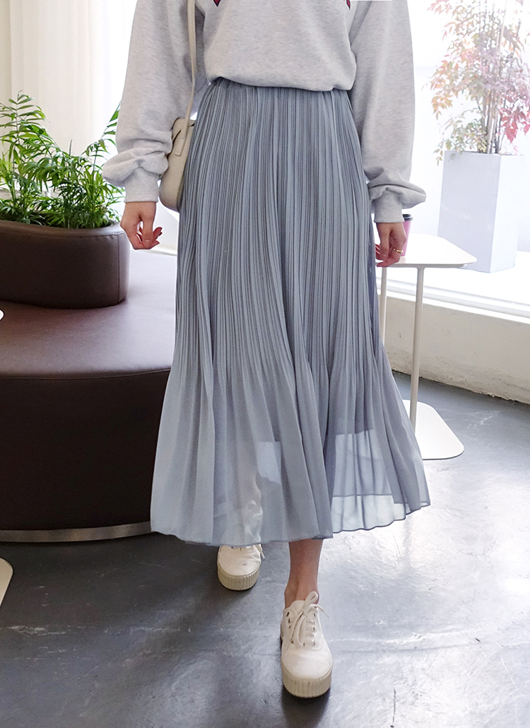 シフォンウエストゴムプリーツスカート・全3色