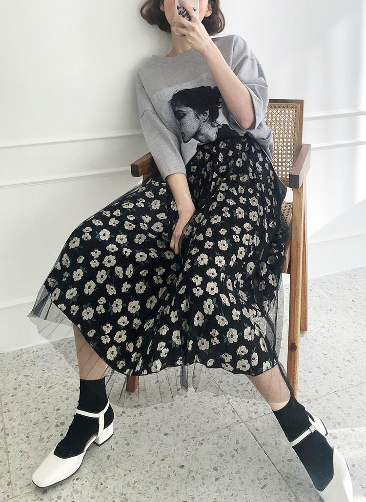 メッシュフローラルプリーツスカート・全2色