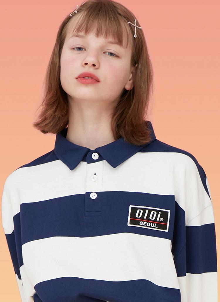 パッチボーダーラグビーTシャツ(マリン)