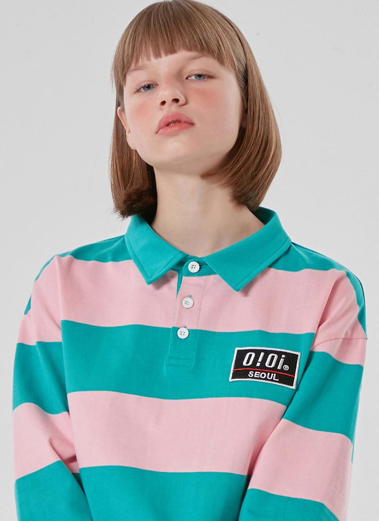 パッチボーダーラグビーTシャツ(コットンキャンディ)