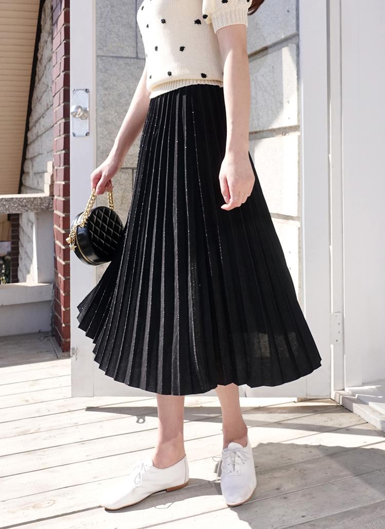 シルキープリーツロングスカート・全4色