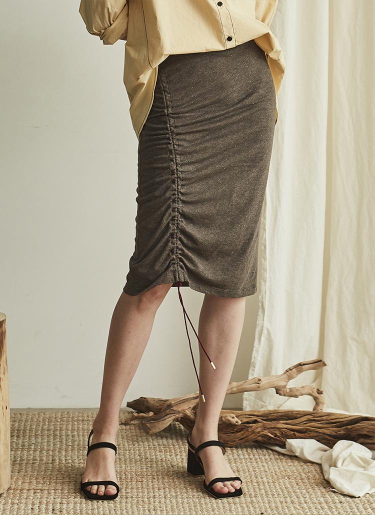 サイドシャーリングスカート(ブラウン)